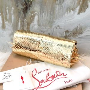 Christian Louboutin Gold Python Marquise Clutch